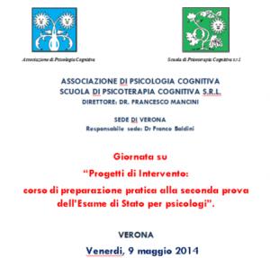 Progetti di Intervento: corso di preparazione pratica alla seconda prova dell'Esame di Stato per psicologi @ c/o Associazione Dopolavoro Ferroviario Verona | Verona | Veneto | Italia