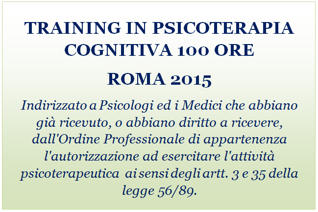 TRAINING IN PSICOTERAPIA COGNITIVA