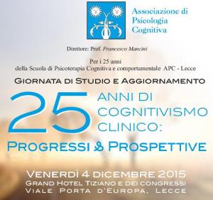 25 anni di Cognitivismo Clinico: progressi e prospettive @ c/o Grand Hotel Tiziano e dei congressi | Lecce | Puglia | Italia
