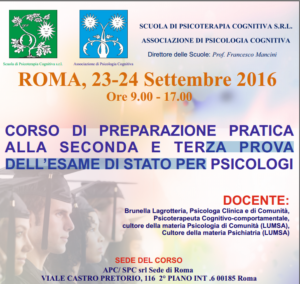 Roma, corso di preparazione pratica alla seconda e terza prova dell'Esame di Stato per Psicologi @ Scuola di Psicoterapia Cognitiva S.r.L. | Roma | Lazio | Italia