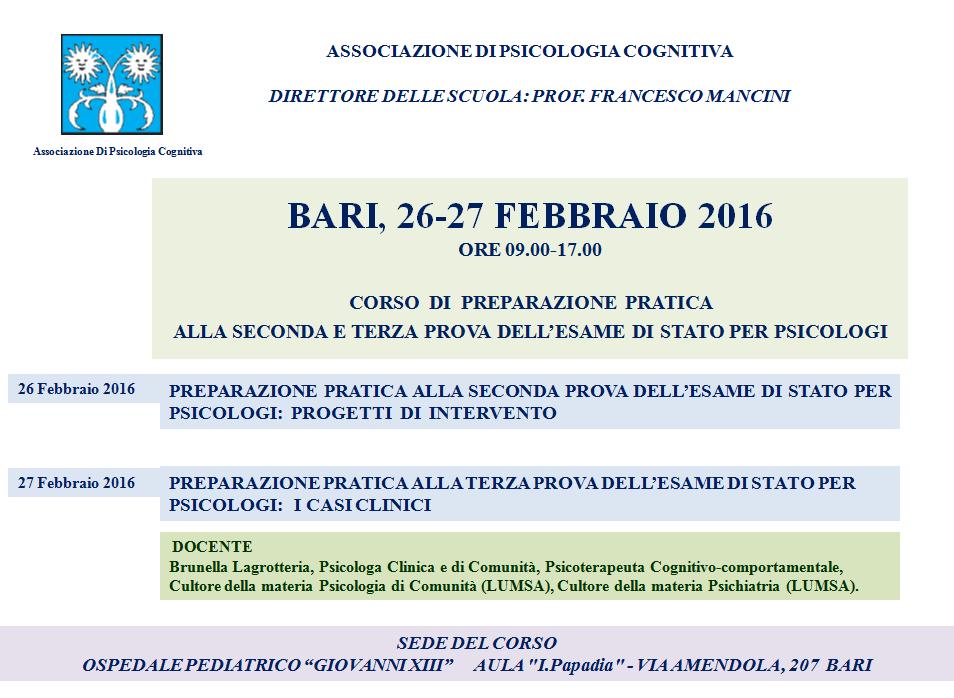 bari 26-27 febbraio 2 e 3 prova esame di stato