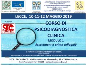 Lecce, Corso di Psicodiagnostica clinica mod. 1 assessment e primo colloquio (corso ECM) @ Associazione di Psicologia Cognitiva sede di Lecce