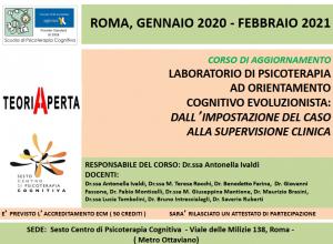 Roma, Laboratorio di Psicoterapia ad orientamento Cognitivo Evoluzionista: dall'impostazione del caso alla supervisione clinica (corso ECM) @ Sesto Centro di Psicoterapia Cognitiva