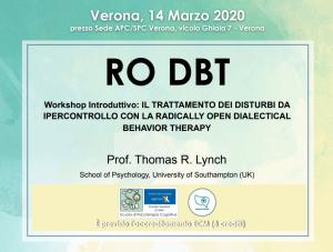 Verona, RO DBT - workshop introduttivo: Il trattamento dei disturbi da ipercontrollo con la radically open dialectical behavior therapy (corso ECM) @ Scuola di Psicoterapia Cognitiva S.r.L. sede di Verona