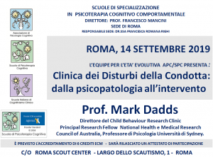 Roma, Clinica dei Disturbi della Condotta: dalla psicopatologia all'intervento (corso ECM) @ c/o Roma Scout Center