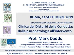 Roma, Clinica dei Disturbi della Condotta: dalla psicopatologia all'intervento (corso ECM) @ c/o Roma Scout Center