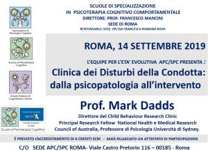 Roma, Clinica dei Disturbi della Condotta: dalla psicopatologia all'intervento (corso ECM) @ Scuola di Psicoterapia Cognitiva S.r.L. sede di Roma