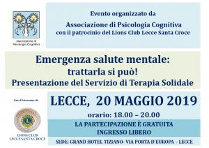 Lecce, Emergenza salute mentale: trattarla si può! Presentazione del Servizio di Terapia Solidale @ c/o Grand Hotel Tiziano