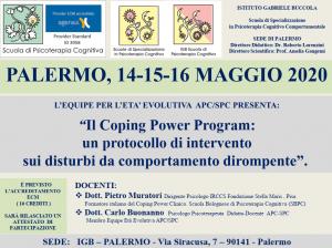 Palermo, Il Coping Power Program: un protocollo di intervento sui disturbi da comportamento dirompente (corso ECM) @ I.G.B. Scuola di Psicoterapia Cognitiva S.r.L. sede di Palermo