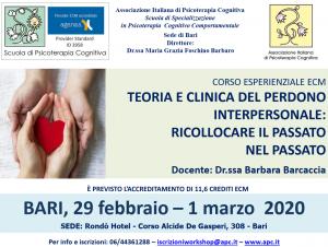 Bari, Teoria e clinica del perdono interpersonale: ricollocare il passato nel passato (corso ECM) @ c/o Rondò Hotel
