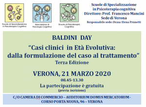 """Verona, BALDINI DAY """"casi clinici in Età Evolutiva: dalla formulazione del caso al trattamento"""" @ c/o Camera di Commercio - AUDITORIUM DOMUS MERCATORUM"""