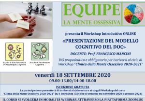 WORKSHOP ON LINE - PRESENTAZIONE DEL MODELLO COGNITIVO DEL DOC @ MODALITA' WEBINAR