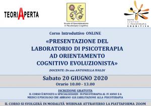 Corso Introduttivo ONLINE - PRESENTAZIONE DEL LABORATORIO DI PSICOTERAPIA AD ORIENTAMENTO COGNITIVO EVOLUZIONISTA @ MODALITA' WEBINAR