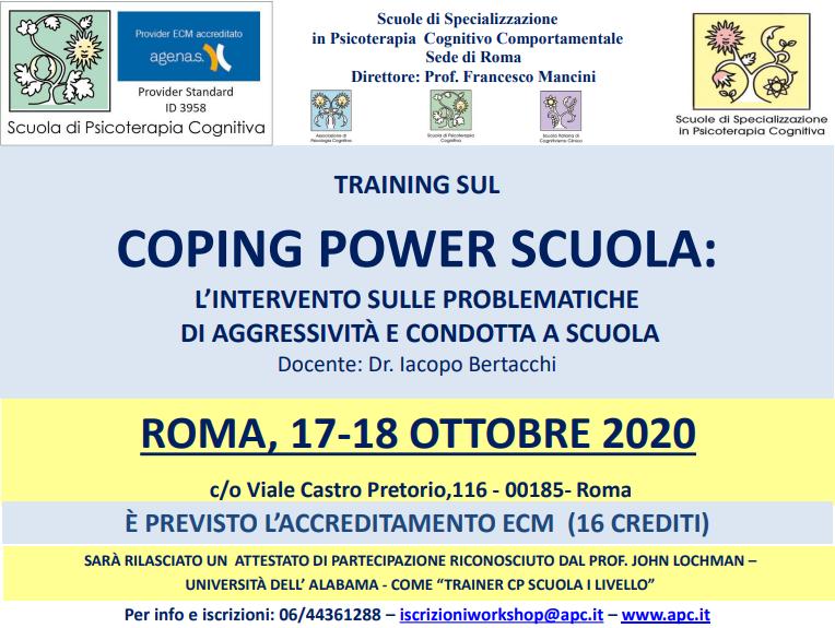 ROMA, COPING POWER SCUOLA: L'INTERVENTO SULE PROBLEMATICHE DI AGGRESSIVITÀ E CONDOTTA A SCUOLA (CORSO ECM)