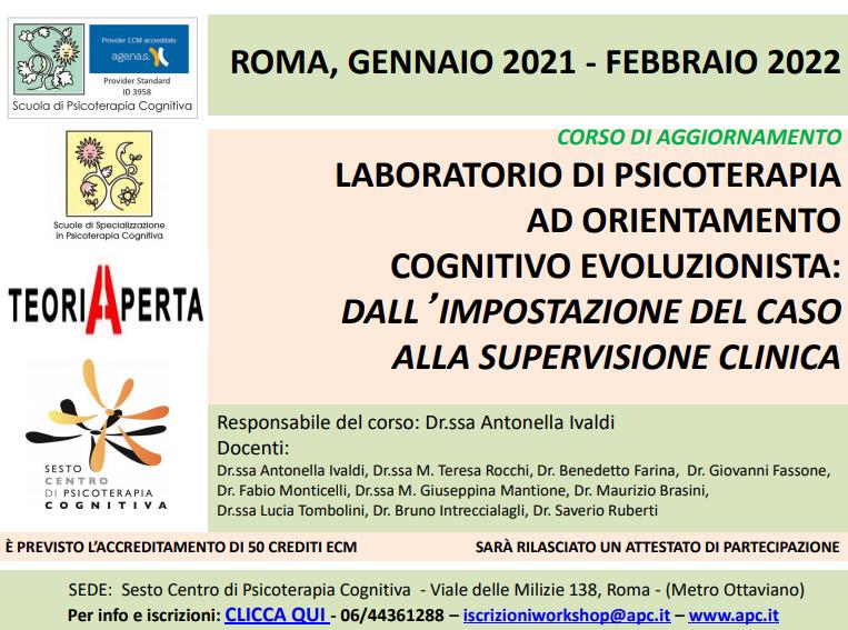 ROMA, LABORATORIO DI PSICOTERAPIA AD ORIENTAMENTO COGNITIVO EVOLUZIONISTA: DALL'IMPOSTAZIONE DEL CASO ALLA SUPERVISIONE CLINICA (CORSO ECM)
