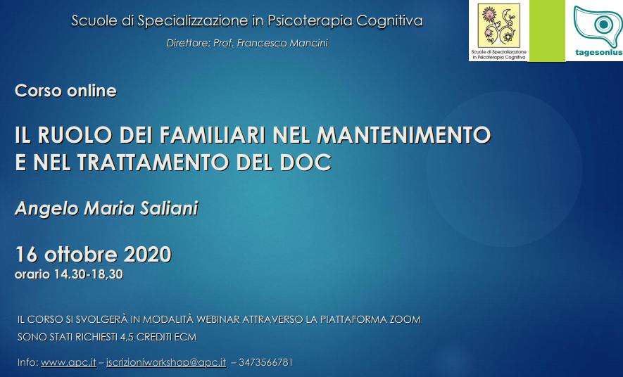 Corso online IL RUOLO DEI FAMILIARI NEL MANTENIMENTO E NEL TRATTAMENTO DEL DOC (corso ECM)