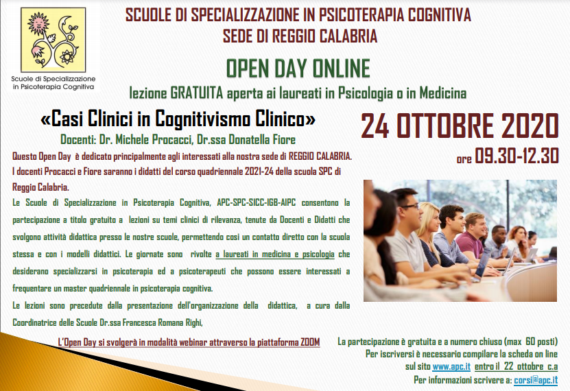 OPEN DAY ON LINE - Casi Clinici in Cognitivismo Clinico