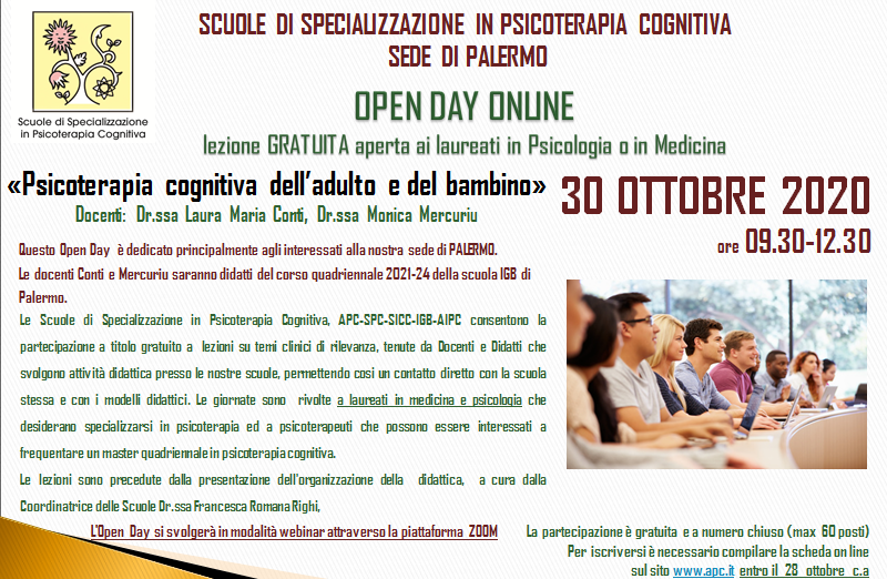 OPEN DAY ON LINE - Psicoterapia cognitiva dell'adulto e del bambino