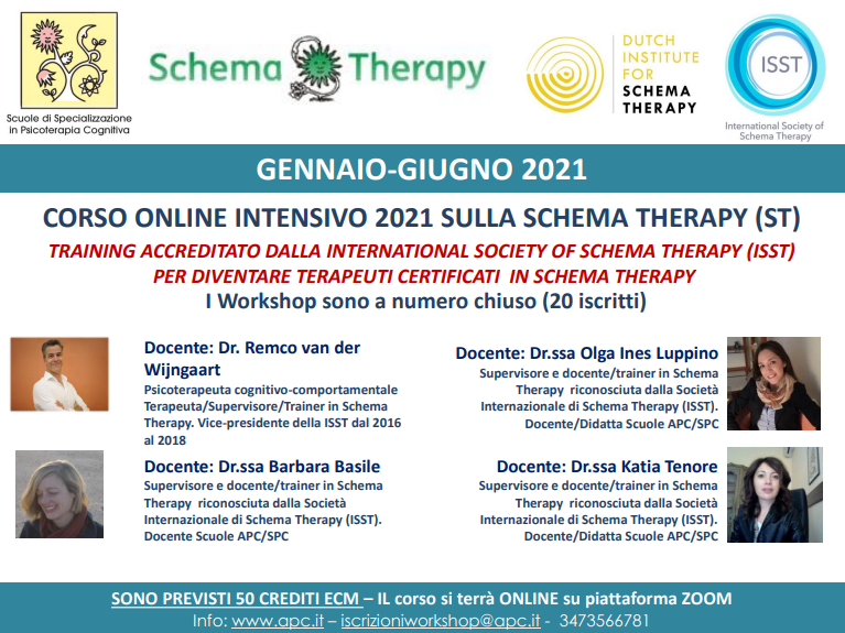 CORSO ONLINE INTENSIVO 2021 SULLA SCHEMA THERAPY (ST) - TRAINING ACCREDITATO DALLA INTERNATIONAL SOCIETY OF SCHEMA THERAPY (ISST) PER DIVENTARE TERAPEUTI CERTIFICATI IN SCHEMA THERAPY
