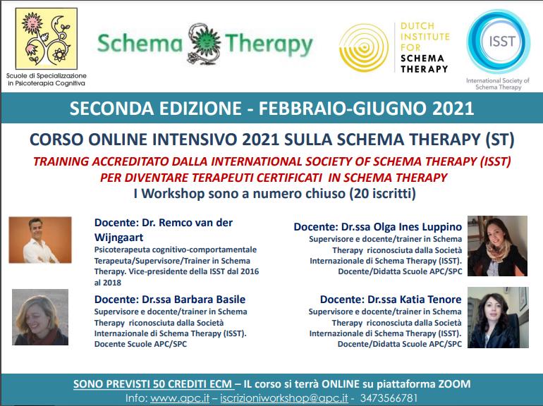 SECONDA EDIZIONE - CORSO ONLINE INTENSIVO 2021 SULLA SCHEMA THERAPY
