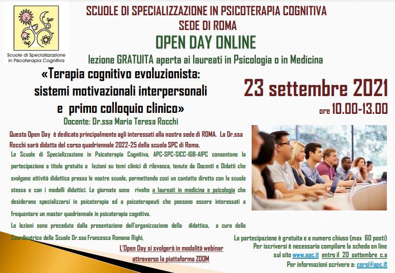OPEN DAY ON LINE - sede di Roma - «Terapia cognitivo evoluzionista: sistemi motivazionali interpersonali e  primo colloquio clinico»