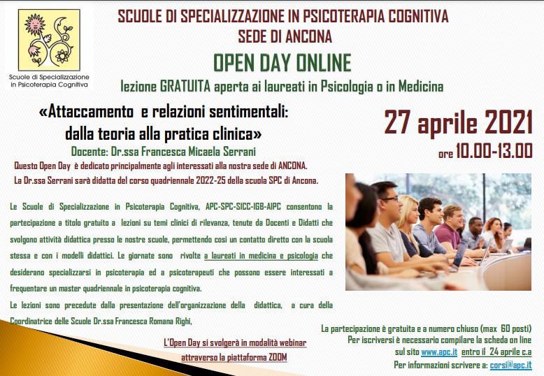 OPEN DAY ON LINE - sede di Ancona - «Attaccamento  e relazioni sentimentali: dalla teoria alla pratica clinica»