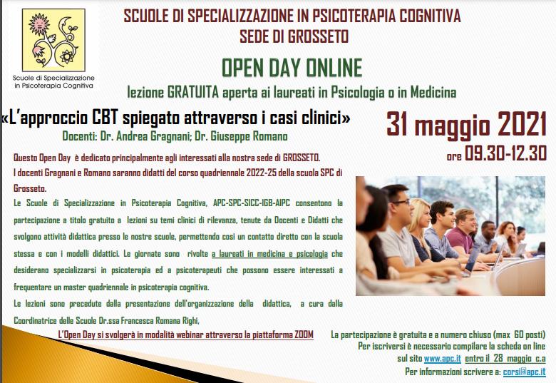 OPEN DAY ON LINE - sede di Grosseto - «L'approccio CBT spiegato attraverso i casi clinici»