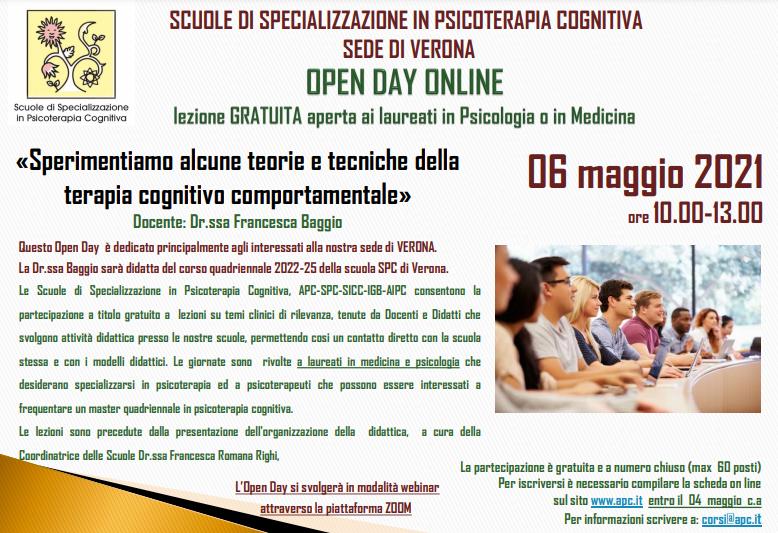 OPEN DAY ON LINE - sede di Verona - «Sperimentiamo alcune teorie e tecniche della terapia cognitivo comportamentale»