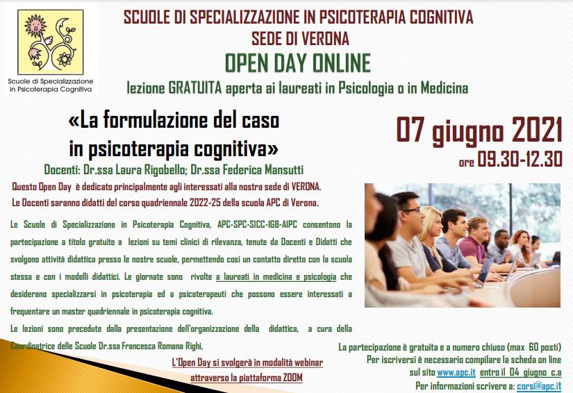 OPEN DAY ON LINE - sede di Verona - «La formulazione del caso in psicoterapia cognitiva»