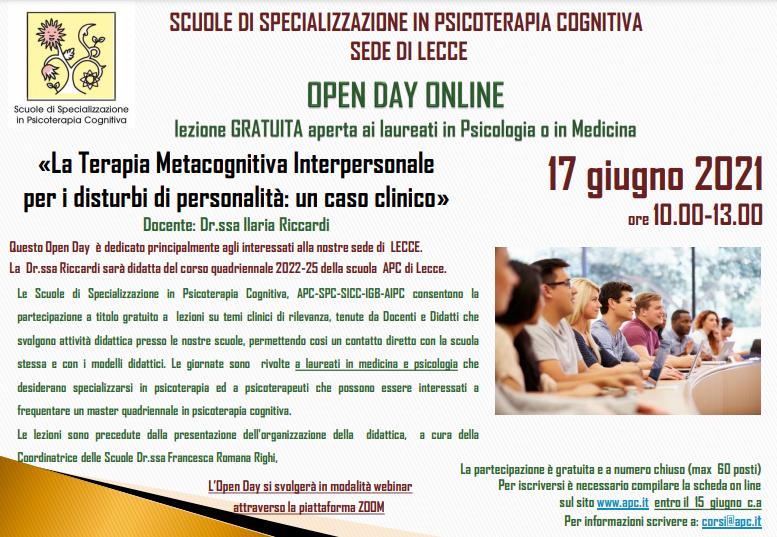 OPEN DAY ON LINE – sede di LECCE - «La Terapia Metacognitiva Interpersonale per i disturbi di personalità: un caso clinico»
