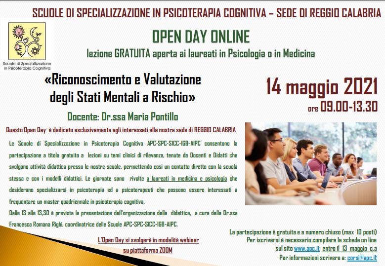 OPEN DAY ONLINE – SEDE DI REGGIO CALABRIA – «Riconoscimento e Valutazione degli Stati Mentali a Rischio»