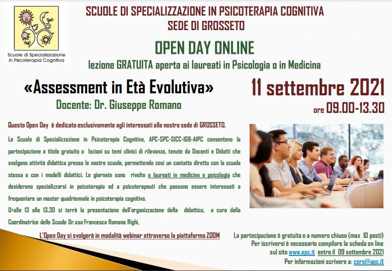 OPEN DAY ON LINE - sede di Grosseto - «Assessment in Età Evolutiva»