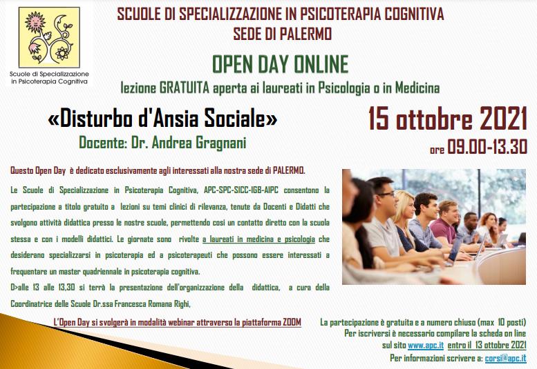 OPEN DAY ONLINE – SEDE DI PALERMO - «Disturbo d'Ansia Sociale»