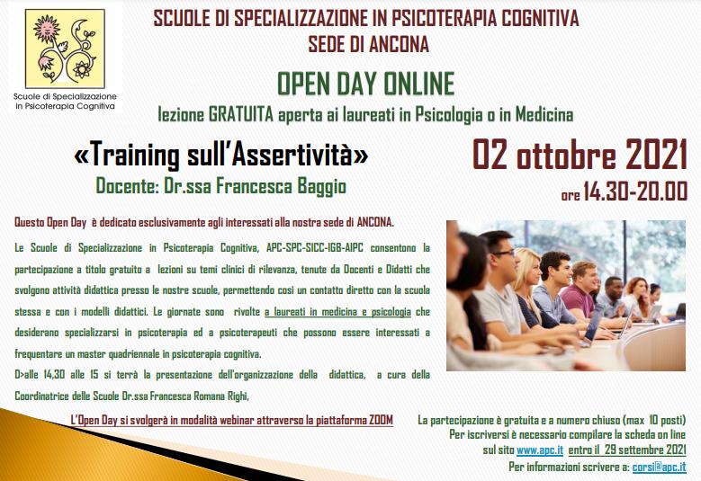 OPEN DAY ON LINE - sede di Ancona - «Training sull'Assertività»