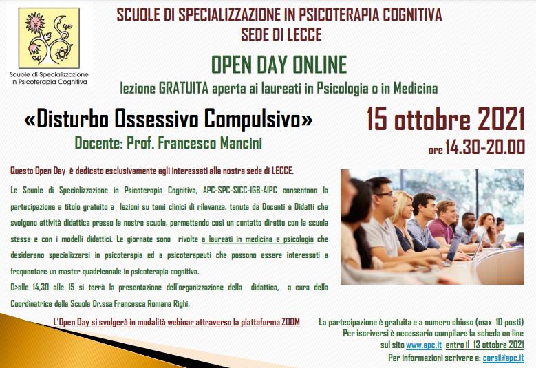 OPEN DAY ON LINE - sede di LECCE - «Disturbo Ossessivo Compulsivo»