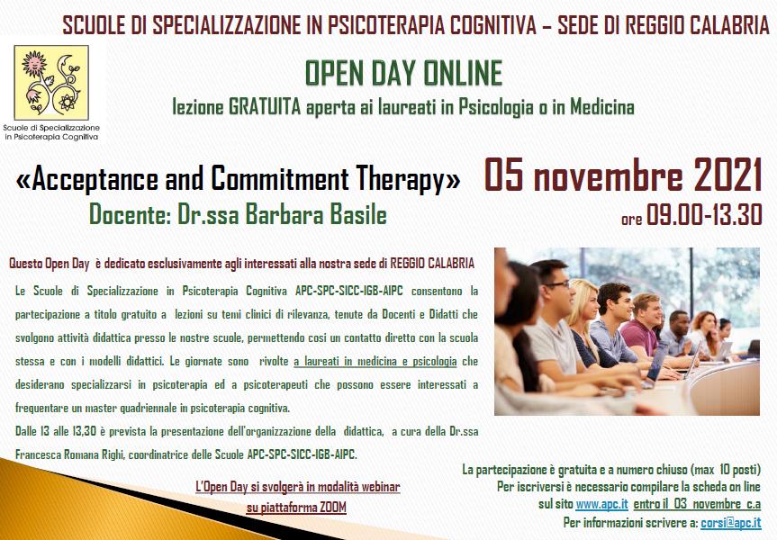 """OPEN DAY ONLINE – SEDE DI REGGIO CALABRIA – """"Acceptance and Commitment Therapy""""»"""