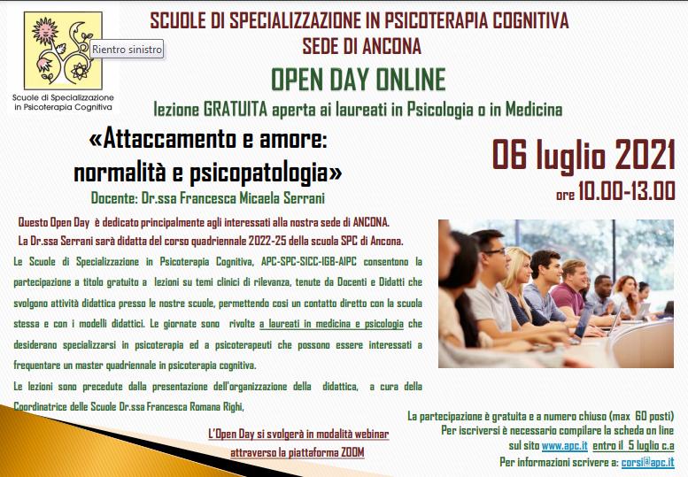 OPEN DAY ON LINE - sede di Ancona - «Attaccamento e amore: normalità e psicopatologia»