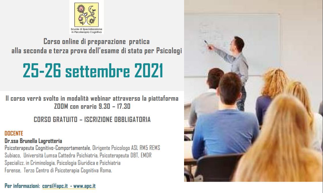 CORSO DI PREPARAZIONE PRATICA ALLA SECONDA E TERZA PROVA DELL'ESAME DI STATO PER PSICOLOGI